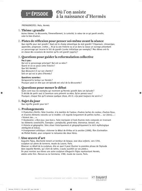 SPECIMENS : fiches pédagogiques Apprendre avec Hermès