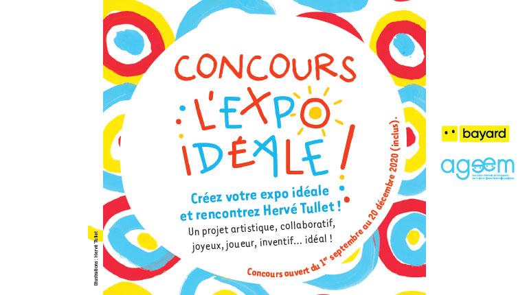 Affiche du concours 'l'expo idéale' avec hervé Tullet - EN partenariat avec l'Ageem et Bayard Editions