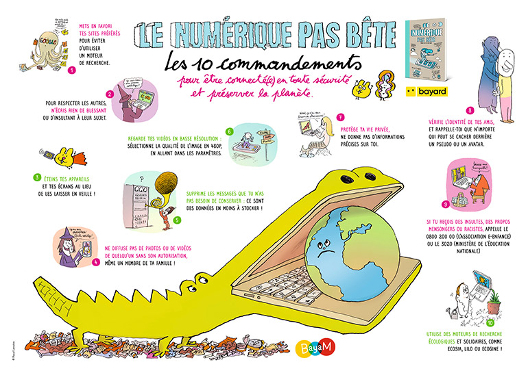 Poster Le numérique pas bête - Les 10 commandements pour être connecté(e) en toute sécurité et préserver la planète.