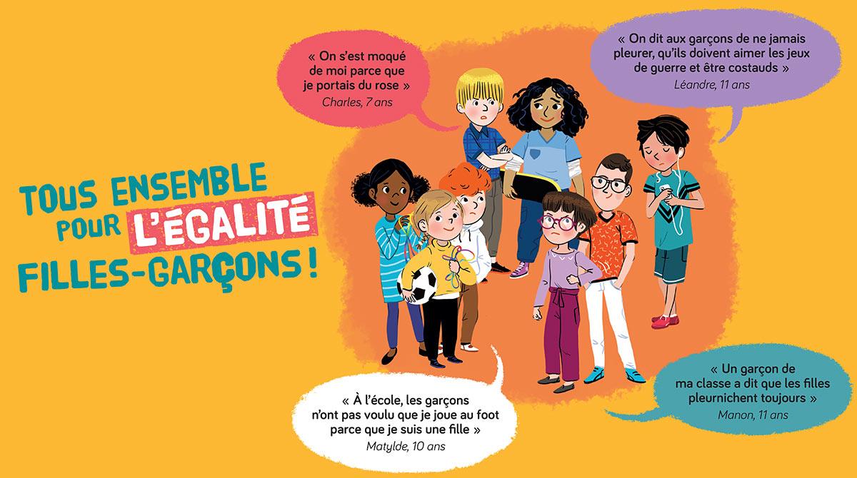 """""""Tous ensemble pour l'égalité filles-garçons!"""" Illustrations : Maud Riemann"""