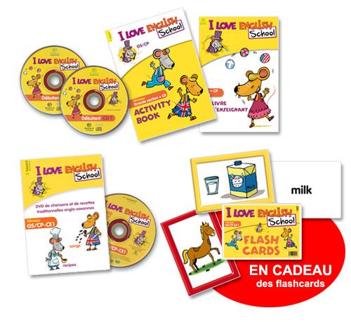 Les outils pédagogiques de la méthode d'apprentissage de l'anglais I Love English School.